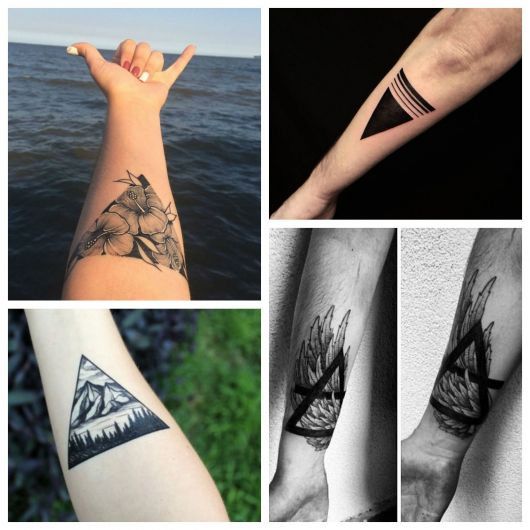 tatuagem de triângulo no braço