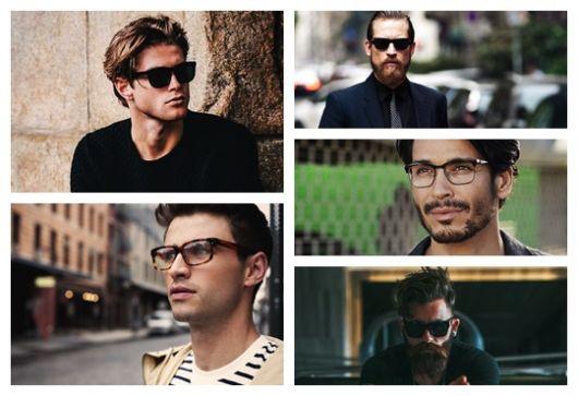 Montagem com cinco imagens diferentes de homens usando óculos quadrado masculino.