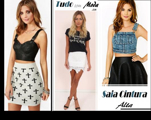 Foto capa do post com três modelos de saias cintura alta nas cores estampado de preto e cinza, branca e preta, com blusas casuais.