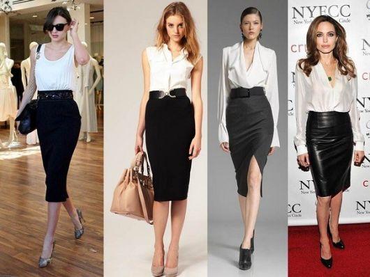 Montagem com modelos de saia preta midi, sapatos de salto e blusa branca.