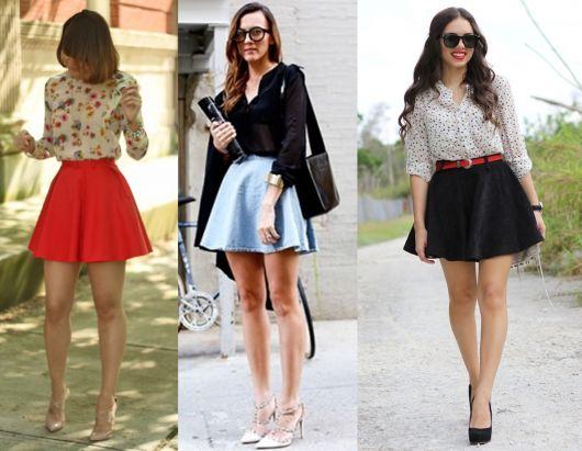 Modelos com looks de saia cintura alta nas cores laranja, preto e azul claro.