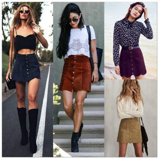Modelos vestem saia de cintura alta com blusas simples e botas de cano alto e curto.