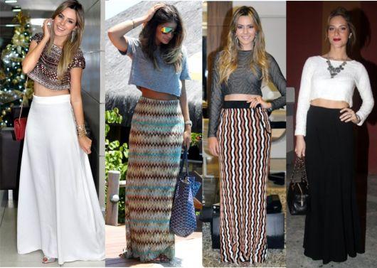 Modelos usam saias justas longas com cropped.
