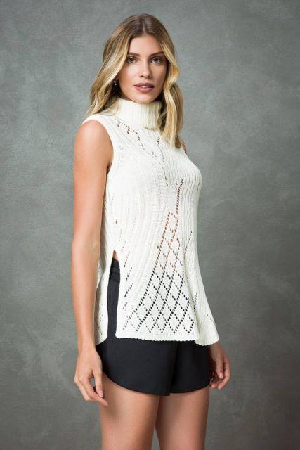 blusa de gola alta de tricot
