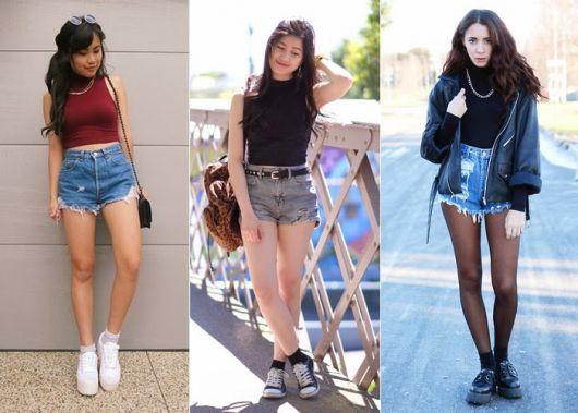 Ideia para usar blusa de gola alta com shorts jeans