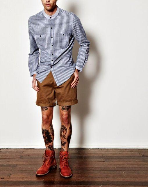bota cano curto masculina com bermuda