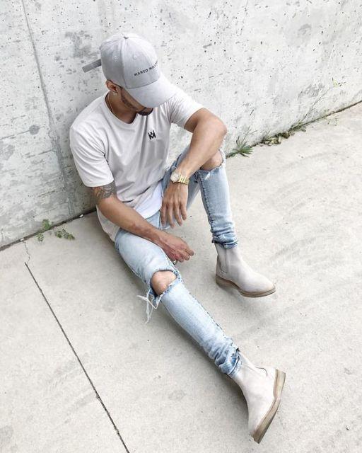 bota cano curto masculina com jeans