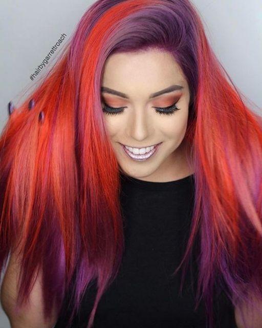 cabelo vermelho e roxo