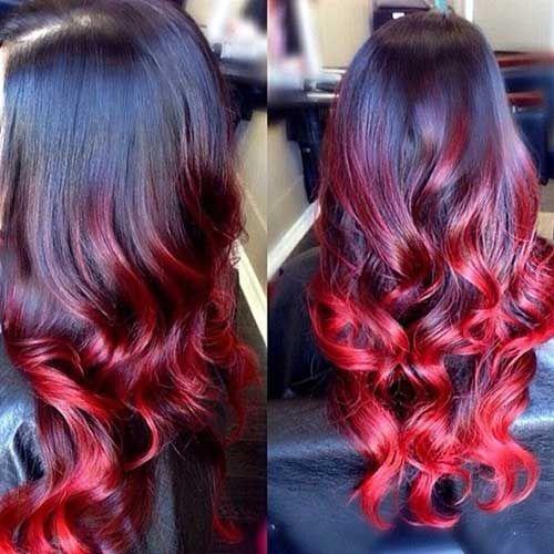cabelo com pontas vermelhas