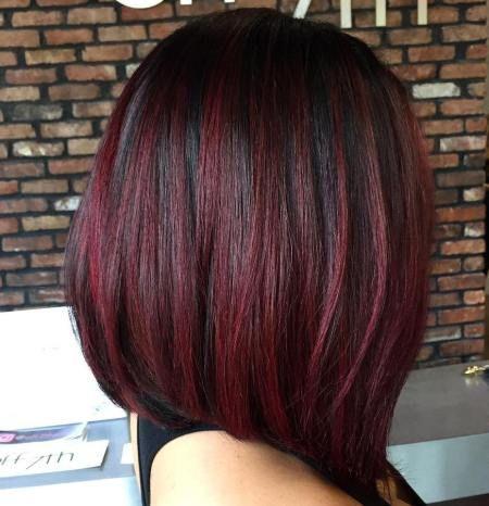 cabelo vinho e preto