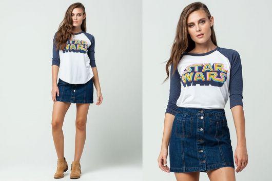 camiseta star wars feminina com saia jeans