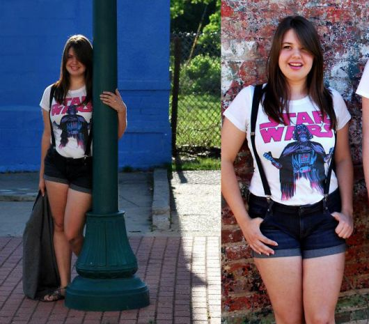 short jeans com camiseta star wars feminina