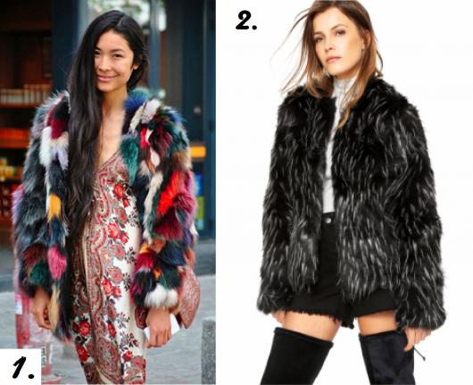 Modelos vestem casaco de pelos nas cores preto e outro colorido.