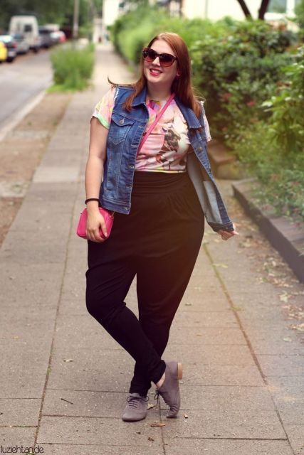 look plus size com calça