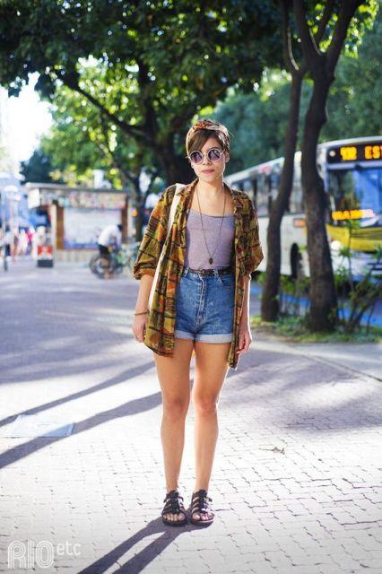 look com short jeans de cintura alta