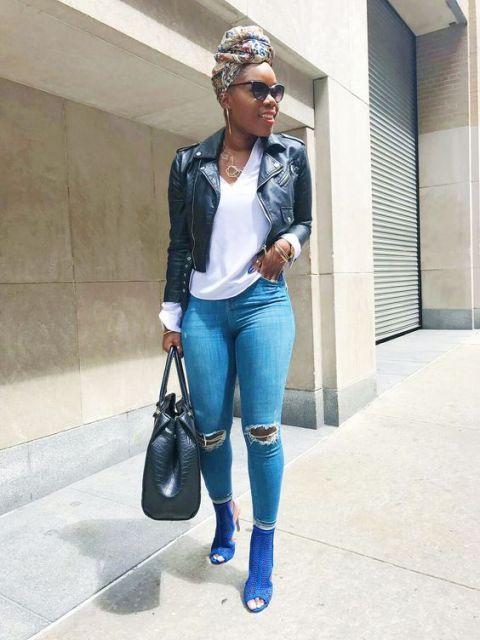 look com jaqueta de couro