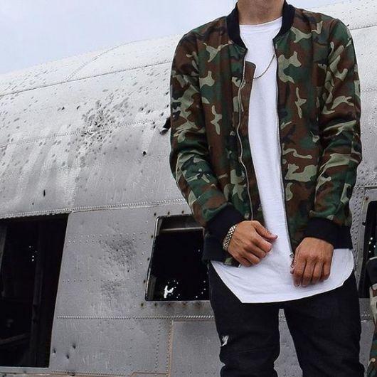 jaqueta bomber masculina camuflada