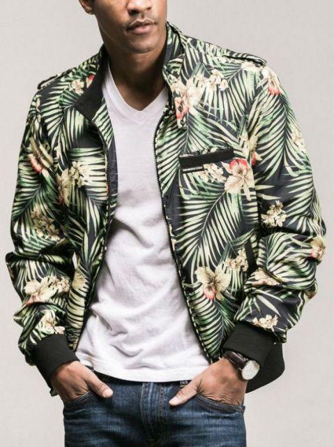 jaqueta bomber masculina floral