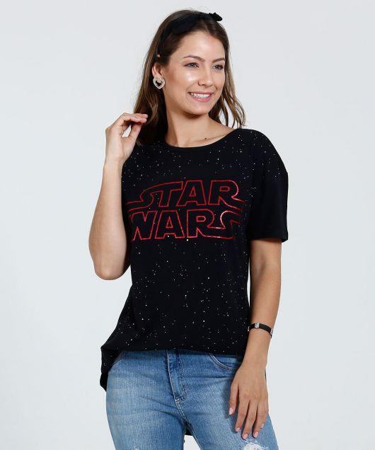 camiseta star wars feminina manga curta