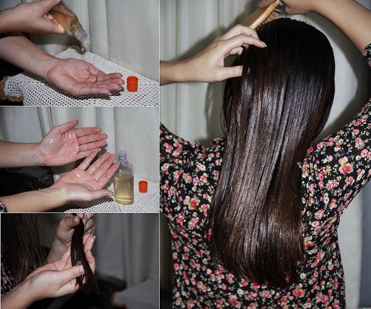 Óleo de coco para cabelo.