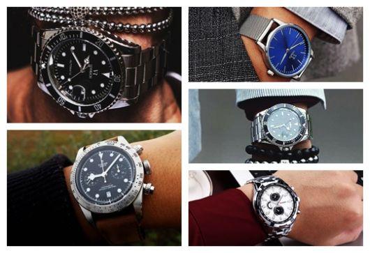 Montagem com três modelos diferentes de relógio masculino prata.