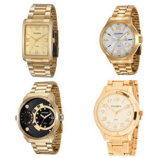Relógio dourado da Mondaine