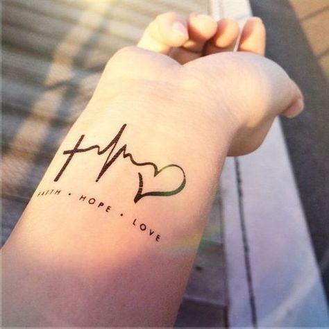 tatuagem de coração no pulso com batimentos cardíacos