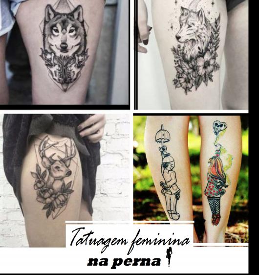 Ilustração com fotos de tatuagens femininas localizadas na perna.
