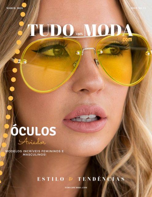 Modelo usa óculos aviador com lente amarela.