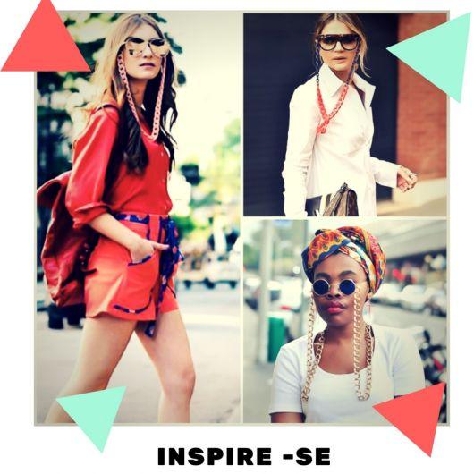 Montagem com modelos de looks casuais com óculos e corrente de óculos.