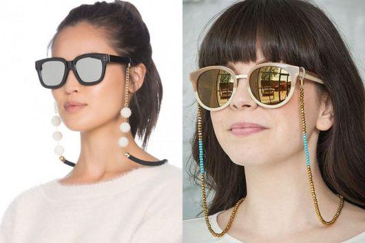Modelos com óculos de sol e corrente jóia.