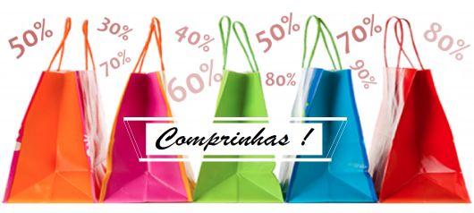 Imagem com sacolas de compra coloridas.