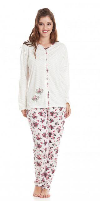 Pijama de botão branco com calça estampada.