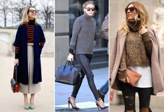 Modelos usam blusas de lã com calça e sapato de salto.
