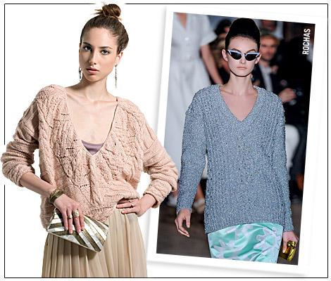 Modelos vestem blusas de lã nas cores nude e cinza.