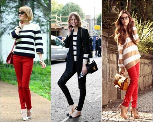 Modelos vestem looks casuais com calça vermelha e preta e blusas de listras nas cores branco e preto.