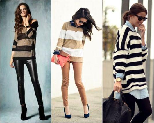 Modelos usam calça jeans preta e blusa listrada.