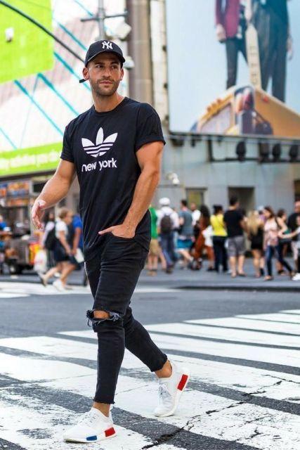 calça preta masculina rasgada
