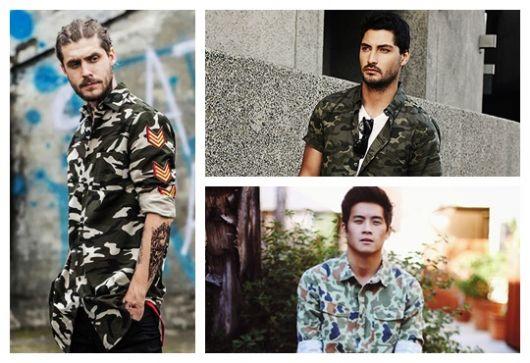 Montagem com três fotos diferentes de homens vestindo camuflada masculina.