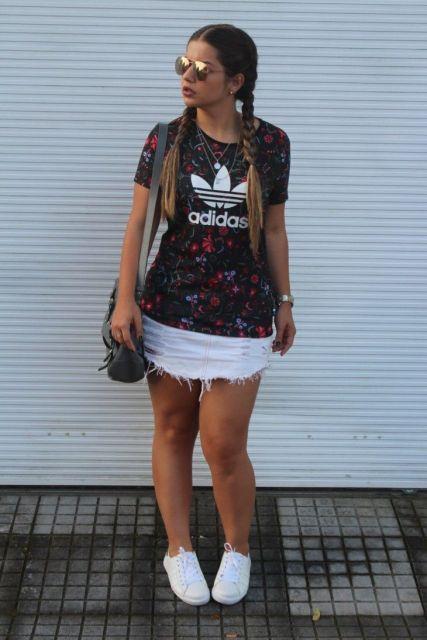 camisetas femininas longline da adidas