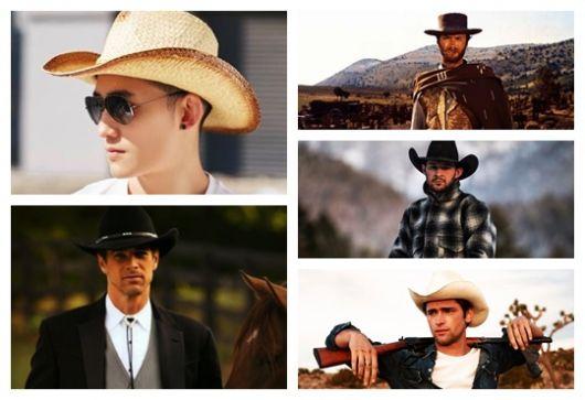 Montagem com cinco fotos diferentes de homens usando chapéu country masculino.