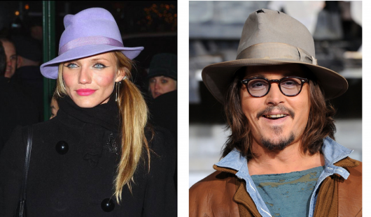 Cameron Dias veste casaco preto e chapéu fedora lilás e Johnny depp usa modelo chapéu fedora cinza.