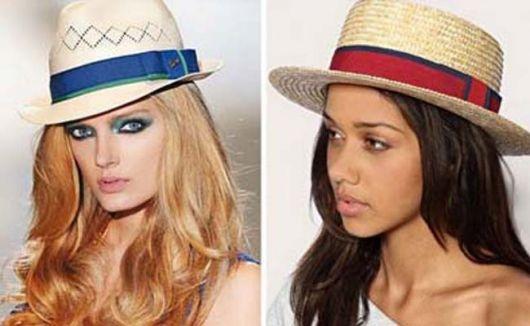 Modelos usam chapéu fedora de palha.
