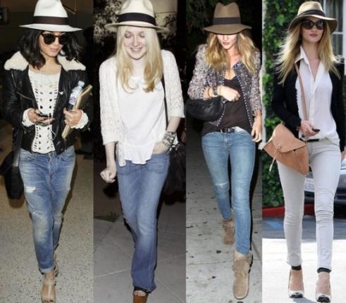 Modelos usam chapéu fedora com jeans e casacos.
