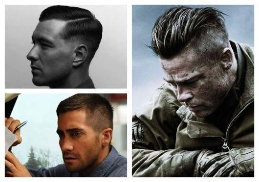 bc2d96f82 Montagem com três fotos diferentes de homens com corte de cabelo militar.