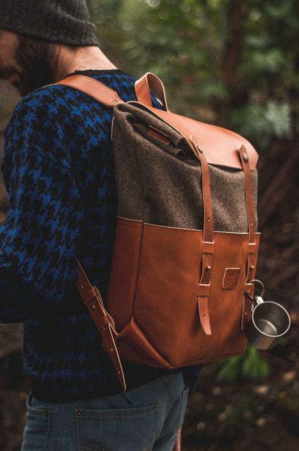 mochila de couro masculina marrom