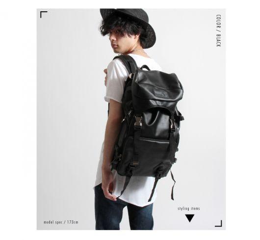 mochila de couro masculina preta