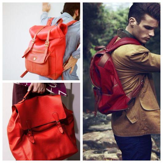 mochila de couro masculina colorida