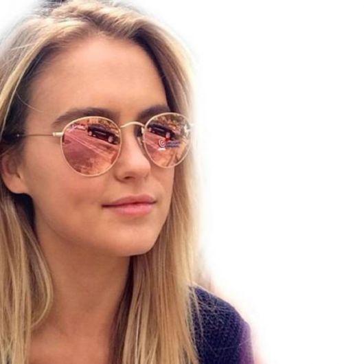óculos rosé modelo redondo