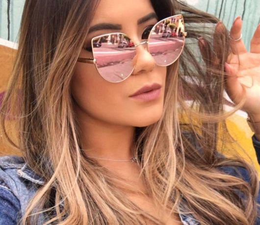 óculos rosé espelhado